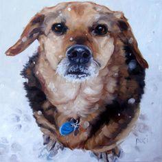 Snowbound Pooch CUSTOM Pet Portrait Oil by puciPetPortraits, $243.00