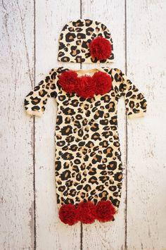 Newborn Leopard baby girl outfit Newborn Leopard by PoshPeanutKids, $32.99