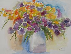 Atmospheric Flower Painting Bouquet of Flowers by JohannaArt