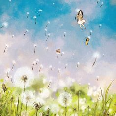 A cozy wind blowing.  Spring has come along with the dandelion spores.    포근한 바람결,  민들레 홀씨 타고 봄이 왔어요. (Full Ver. grafolio.com/works/294766)    #일러스트 #일러스트레이션 #봄 #민들레 #상상 #식물 #소녀 #하늘 #강아지 #다람쥐  #illust #illustration #drawing #sketch #paint #girl #plants #spring #dandelion #forest #green