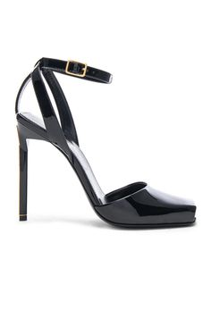 488a2f7bd36 Shop for Saint Laurent Patent Leather Edie Heeled Sandals in Black at FWRD.  Free 2 day shipping and returns.