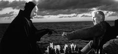 The Seventh Seal is a 1957 existential film by Swedish filmmaker Ingmar Bergman starring Max von Sydow, Gunnar Björnstrand, and Bengt Ekerot. Ingmar Bergman Films, Bergman Movies, Max Von Sydow, Great Films, Good Movies, Awesome Movies, Gerard Philipe, The Seventh Seal, Cinema Tv