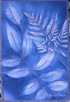 Maryandpatch, sun printing on fabric, card, tutorial