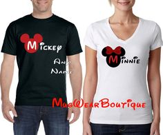 """Disney Family Shirts Mickey Minnie Glitter Bow T-Shirt and Minnie Me Shirts, Disney couple shirt  Dress up to match with your favorite """"Someone""""  This listing is for one (1) high quality shirt, so please add as many as youd like. A personal touch means so Much! Add a name and create your own Family Memory Matching Disney shirts for your upcoming trip or any occasion. *Please remember these are made to order, I will get your shirt shipped as quickly as I can. If you would like a picture of…"""