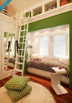 A cool kids room, that has a ladder and little storage spaces, above the bed, that's next to a window