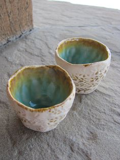 Two Tiny Cups Handbuilt Textured with Aqua Blue by liciapfadt, $22.00