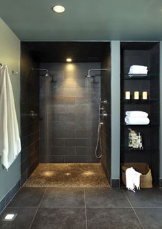 Awesome Shower! Zero-Threshold and a great example of an Aging-in-Place shower could be. Just because you have physical limitations doesn't mean your spaces have to be institutional.