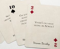 Relive the magic from the Harry Potter books while playing your favorite card game.  One deck includes 54 cards, with quotes from 52 different