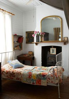 Lovely old-fashioned looking room. Reminds me of the feeling of staying at my Granny's house when I was a child. (Not sure that bed would stand up to anyone actually lying on it though...)