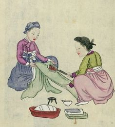 Article on the history of ironing including Viking era.  Two people using pan iron on length of fabric