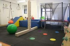 Therapy room- nice ramp and indoor tramp