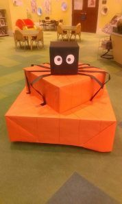 Halloween Book Display, made from display stackable cubes. Jacksonville Public Library / Main Library