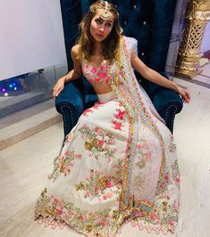 [New] The 10 Best Outfit Ideas Today (with Pictures) - Gorgeous as always! looking SO beautiful in this radiant white lehenga by Get this look at the official website Sangeet Outfit, Mehendi Outfits, Indian Outfits, Indian Attire, Indian Clothes, Lehnga Dress, Lehenga Gown, Saree Blouse, Anarkali