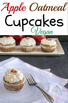 Apple Oatmeal Cupcakes with Vegan Vanilla Frosting is a nutritious and delicious dessert and easy to bake. Oatmeal Cupcakes, Vegan Cupcakes, Fall Desserts, Just Desserts, Pastry Recipes, Baking Recipes, Healthy Desserts, Delicious Desserts, Bakers Gonna Bake