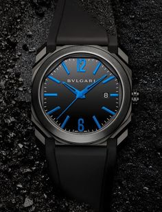 Bulgari Octo Ultranero Americas Edition - note the touch of blue in this new edition of the watch designed specially for the Americas.