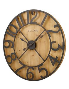 Bulova Silhouette Wall Clock Rubbed Bronze - The oversized Bulova Silhouette Wall Clock will instantly add a focal point to any space in your home. This Clock features aged metal numerals and a knotty pine veneer finish with a natural pine stain. Rustic Wall Clocks, Wooden Clock, Wooden Walls, Farmhouse Clocks, Clock Wall, Diy Clock, Wall Art, Oversized Clocks, Diy