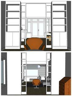 Kamer en suite in jaren 30 woning Interieur design by nicole & fleur Living Room Partition, Living Room Divider, Room Partition Designs, Home Living Room, Steel Frame Doors, Custom Home Designs, Built In Bookcase, New House Plans, Home Staging