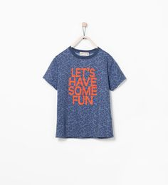 Image 1 of LEOPARD PRINT T-SHIRT WITH SLOGAN from Zara