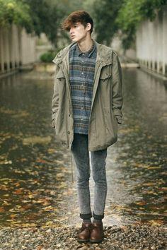 coat clothes model models male men shoes cheap monday asos paris framce lookbook raincoat rain blue fade khaki hooded parker hooded parka ci...