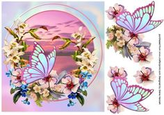 Butterfly at Sunrise on Craftsuprint designed by Diane Hannah - Butterfly at Sunrise. Includes decoupage elements. A great card for females. Birthday, anniversary, mother, sister - Now available for download!