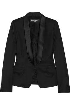 Balmain Wool Tuxedo Jacket in Black | Lyst