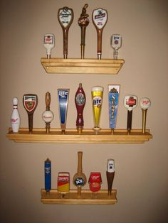 OAK BEER TAP HANDLE DISPLAY BASE HOLDS 27 AT ALMOST 3/' LONG ON  3 TIERS