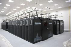 Russian supercomputer Lomonosov built by T-Platforms. With a peak performance of 414 teraflops it currently sits at 12th in the world's list of top 500 supercomputers.