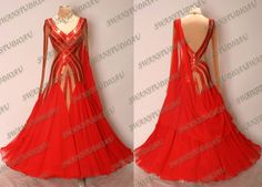 NEW READY TO WEAR RED GEORGETTE BALLROOM DANCE DRESS SIZE:S US 4-6