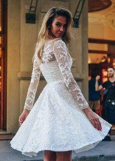 498d89765bf6019 Короткое белое платье из кружева с юбкой солнце-клеш и длинным рукавом  NN047 купить в интернет-магазине TobeBride