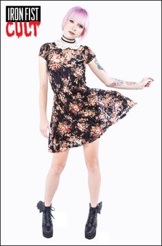 Lip Service Black Floral Print Stretch Lace Baby Doll Dress