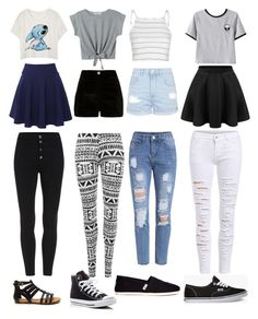 """""""Crop Top Outfits"""" by emilylauren-2 on Polyvore featuring QNIGIRLS, WithChic, River Island, Glamorous, Topshop, Chicnova Fashion, WearAll, Converse, Vans and TOMS"""