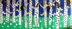 Kevätkoivikko Koivikko maalattu pullopeiteväreillä. Valkovuokot ja perhoset tehty erilliselle paperille. Etualalla leijailevien pääskysten ohje Pinterestistä.