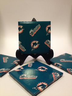 Set of Four Miami Dolphins Tile Coasters. by CaseySwainsCreations, $12.00