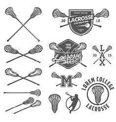 Set of lacrosse design elements vector by ivanbaranov on VectorStock®