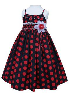 Red polka dot girls dress for summer