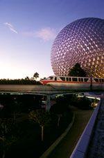 Spaceship Earth and Walt Disney World Monorail at Disney's Epcot Theme Park Disney World Vacation Planning, Disney World Theme Parks, Walt Disney World Vacations, Spaceship Earth Epcot, Travel, Red, Viajes, Destinations, Traveling