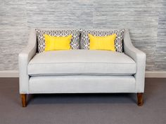 George Sofa - This simple compact sofa is pictured in a or small 2 seat size with a single cushion but can be made to any size. The back height is low to give an Thing 1, Sofa, Couch, Upholstered Furniture, Furniture Collection, Compact, Love Seat, Quilt, Cushions