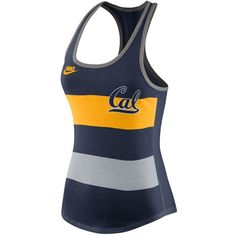 Nike Women's California Golden Bears Stripe Tank Top ($16) ❤ liked on Polyvore featuring activewear, activewear tops, navy, golden bear sportswear, nike, logo sportswear, nike sportswear and athletic sportswear