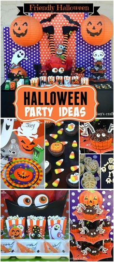 A fun and friendly Halloween party for kids with lots of polka dots, pumpkins, ghosts and monsters!  See more party planning ideas at CatchMyParty.com!