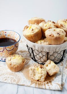 Banana Cream Cheese Muffins - These are delicious and the cream cheese filling sends these over the edge.