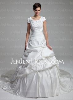 Wedding Dresses - $169.59 - Ball-Gown Scoop Neck Chapel Train Satin Wedding Dress With Lace Beadwork Sequins (002012761) http://jenjenhouse.com/Ball-Gown-Scoop-Neck-Chapel-Train-Satin-Wedding-Dress-With-Lace-Beadwork-Sequins-002012761-g12761