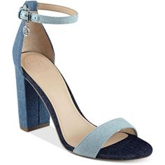 Guess Women's Bamboo Two-Piece Block-Heel Sandals found on Polyvore featuring shoes, sandals, denim, guess footwear, block heel shoes, guess shoes, bamboo sandals and denim shoes