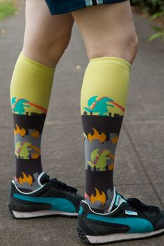The fire-breathing monsters on these Rampage Knee Highs are so cute, we'd invite them back to level our city any old time (kidding! Kidding.... we like our city)