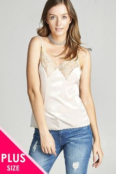 d950a892bf4207 Plus size sleeveless lace insert velvet cami top