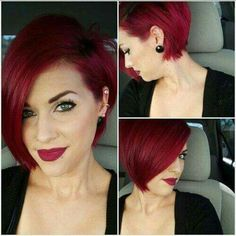 Short Red Hair Color Ideas - The UnderCut - Asymmetrical-Haircut Short Red Hair Color Ideas - Red Bob Haircut, Haircut And Color, Haircut Short, Haircut Style, Short Undercut, Pretty Hairstyles, Bob Hairstyles, Hairstyles Pictures, Hairstyle Ideas