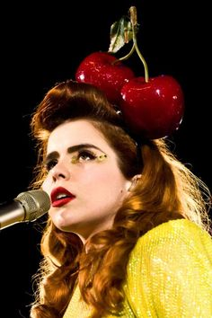 Paloma Faith - large cherries on her head, naturally Headdress, Headpiece, Pop Art Fashion, Paloma Faith, Eccentric Style, Female Singers, Girl Crushes, Her Style, Style Icons
