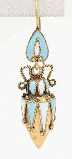 Victorian Enamel Gold Amphorae Earrnings   From a unique collection of vintage dangle earrings at https://www.1stdibs.com/jewelry/earrings/dangle-earrings/