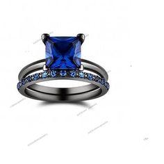 Princess & Rd Cut Sapphire 14K Black Gold Finish 925 Silver.Bridal Ring Set…
