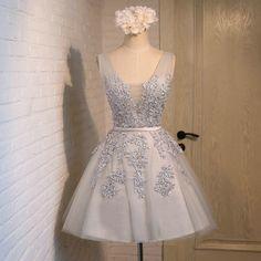 Short Lace Silver Prom Dresses Length pst0387 on Storenvy