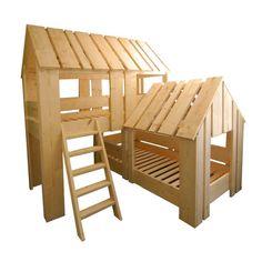 Stoer jungle boomhut bed voor 2 stoere kids. Dit bed maakt van elke kinderkamer een fantastische speelplek waar de mooiste jungleavonturen beleefd worden.